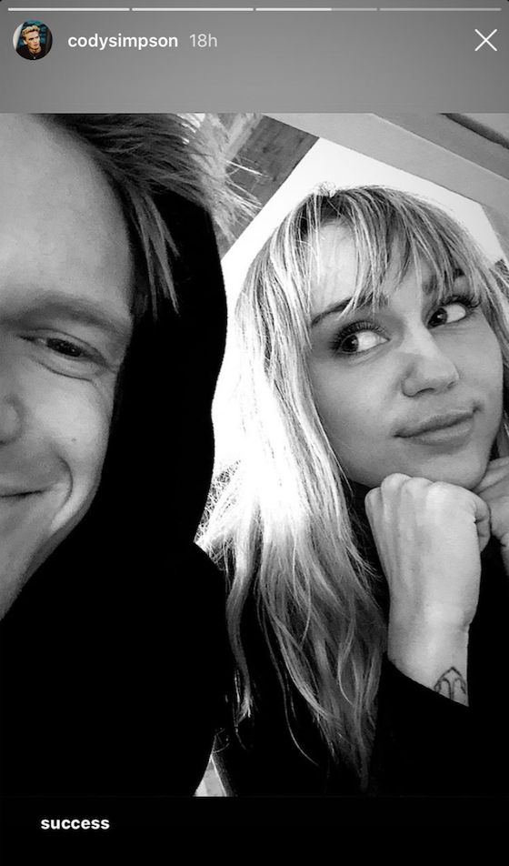 miley cyrus smiles at her boyfriend cody simpson in a selfie after reportedly undergoing vocal chord surgery