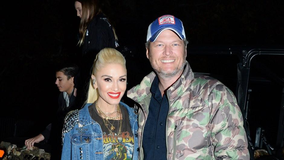 Gwen Stefani Wearing a Jean Jacket With Blake Shelton in a Camo