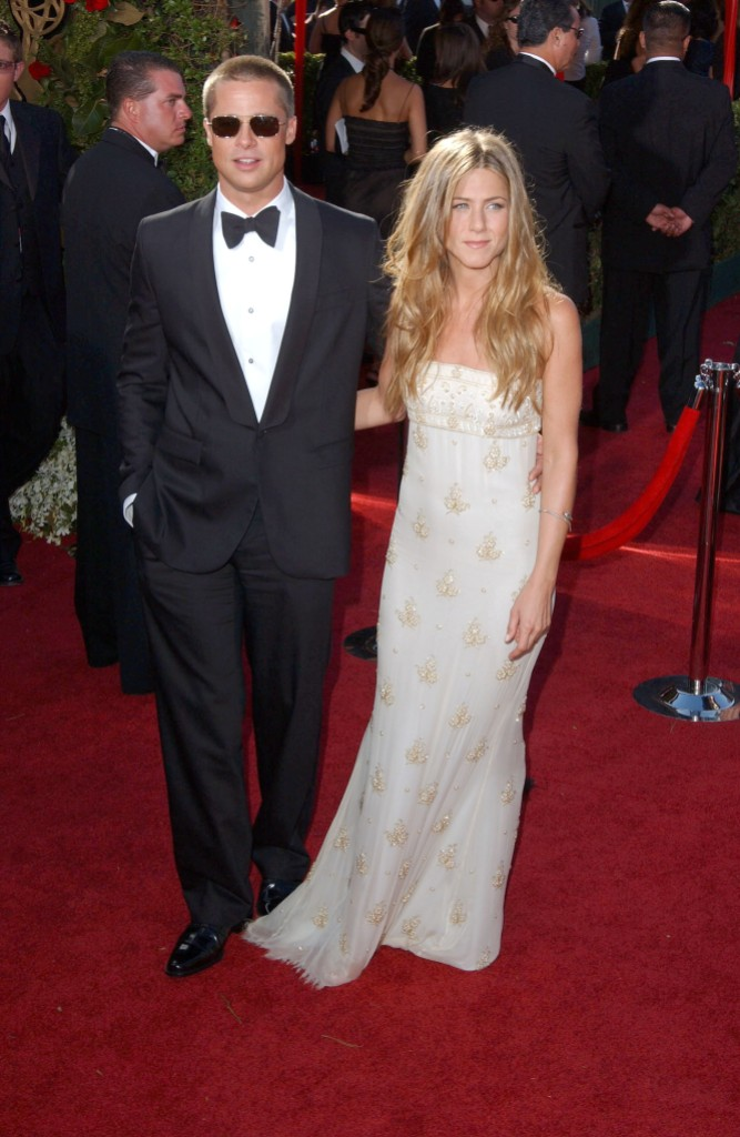 Brad Pitt Wearing a Tuexedo While Jennifer Aniston Wears a White Dress