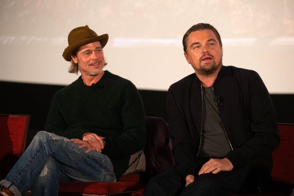Brad Pitt Wearing a Fedora With Leonardo DiCaprio