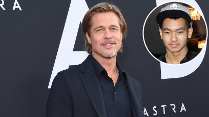 In-Set Photo of Maddox Wearing Baseball Cap Over Photo of Brad Pitt on Red Carpet