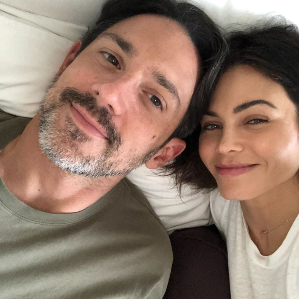 Steve Kazee and Jenna Dewan in Bed Cuddling