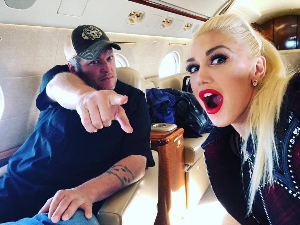 Gwen Stefani on a Plane With Blake Shelton
