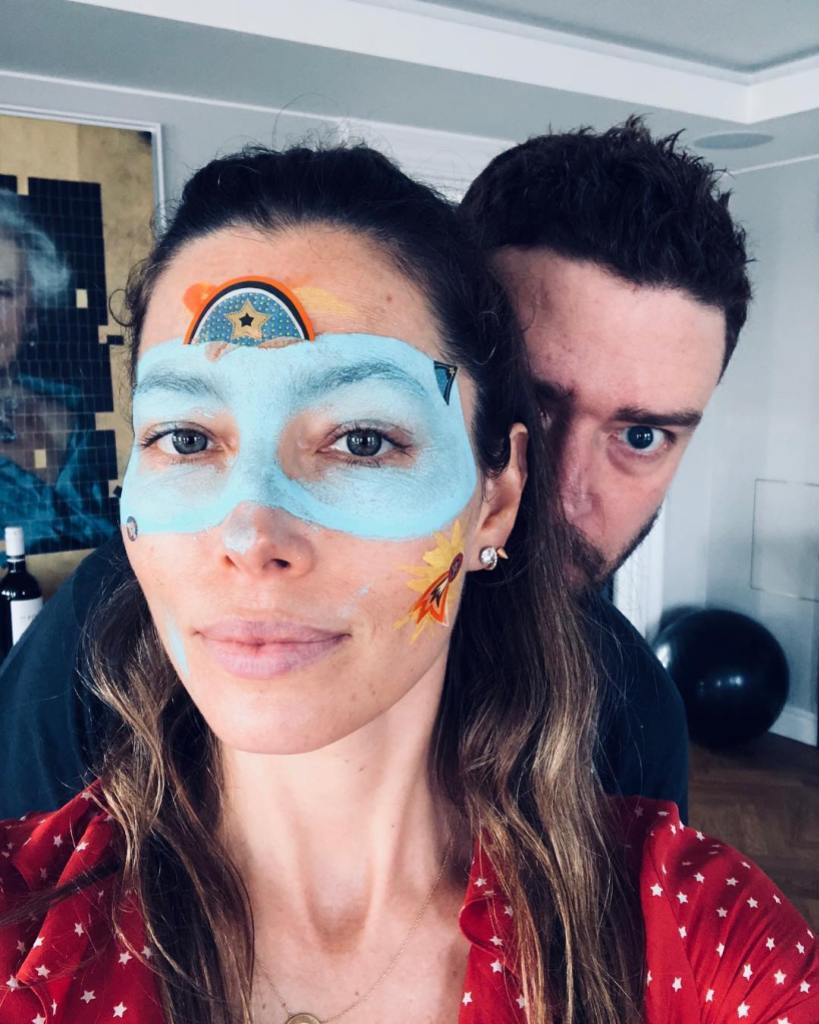 Jessica Biel With Paint on Her Face With Justin Timberlake