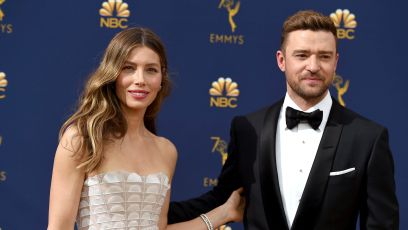 Jessica Biel Wearing a White Dress With Justin Timberlake in a Suit