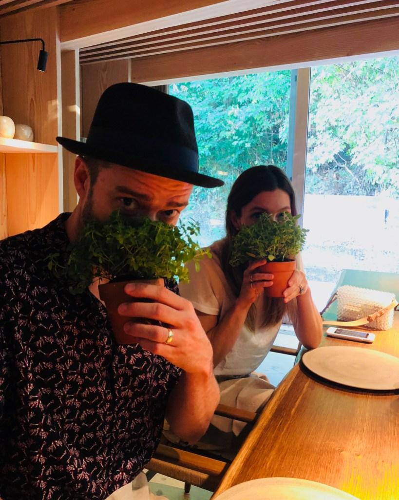 Jessica Biel and Justin Timberlake With Plants