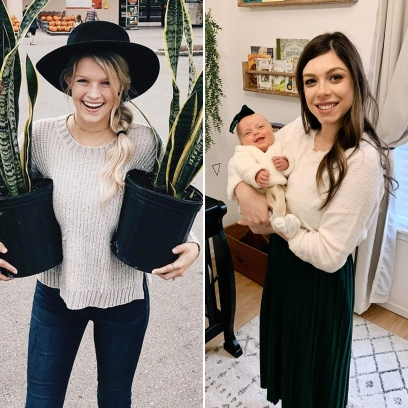 Side-by-Side Photos of Josie Bates Holding Plants and Lauren Swanson Holding Her Baby