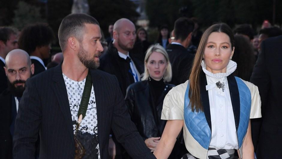 Justin Timberlake and Jessica Biel Walking in Paris