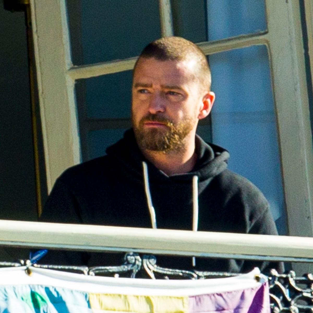 Justin Timberlake Looks Glum on New Orleans Balcony Following Scandal With Alisha Wainwright
