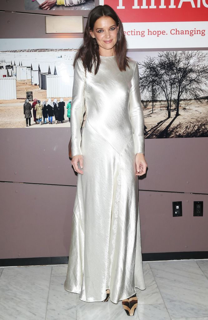 Katie Holmes Wearing a Silver Dress at an Event