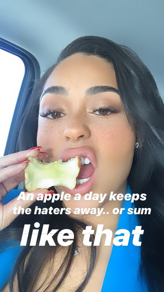 Jordyn Woods Eating an Apple
