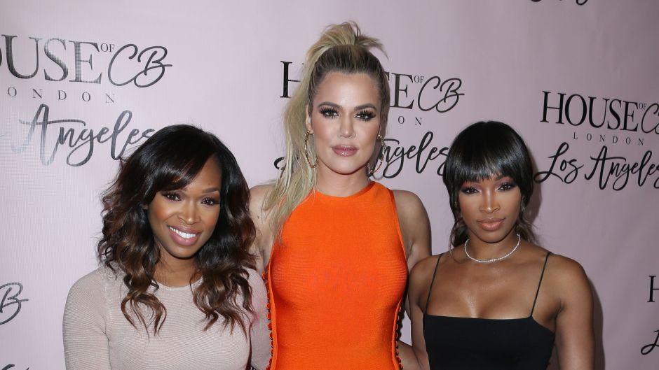 Khloe Kardashian Wearing an Orange Dress With Khadija Haqq and Malika Haqq