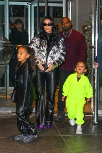 Kim Kardashian and Kanye West Walk With Their Family in NYC