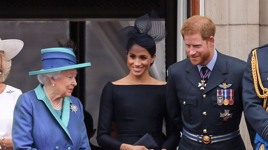 Meghan Markle Wearing a Black Dress With Prince Harry and Queen Elizabeth