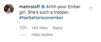 matt roloff comments on post about ember having rsv