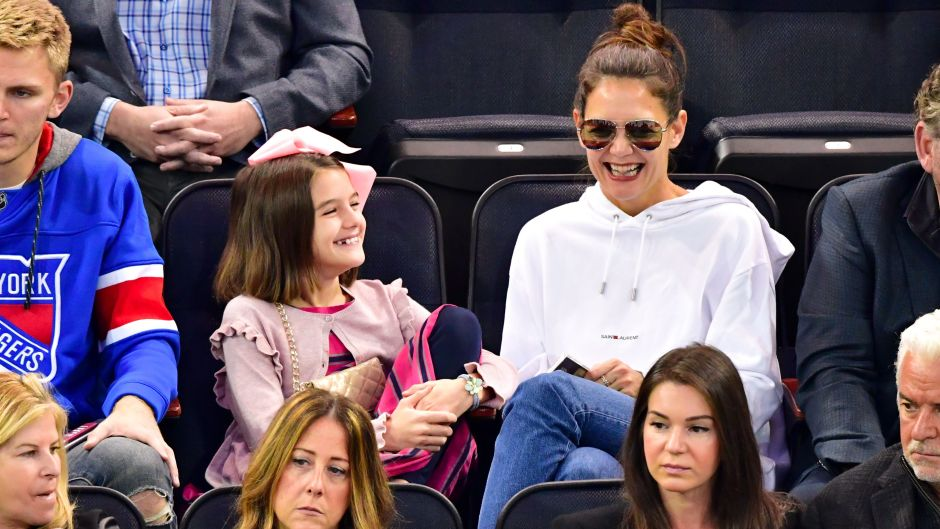 Suri Cruise Smiling at a Hockey Game With Katie Holmes