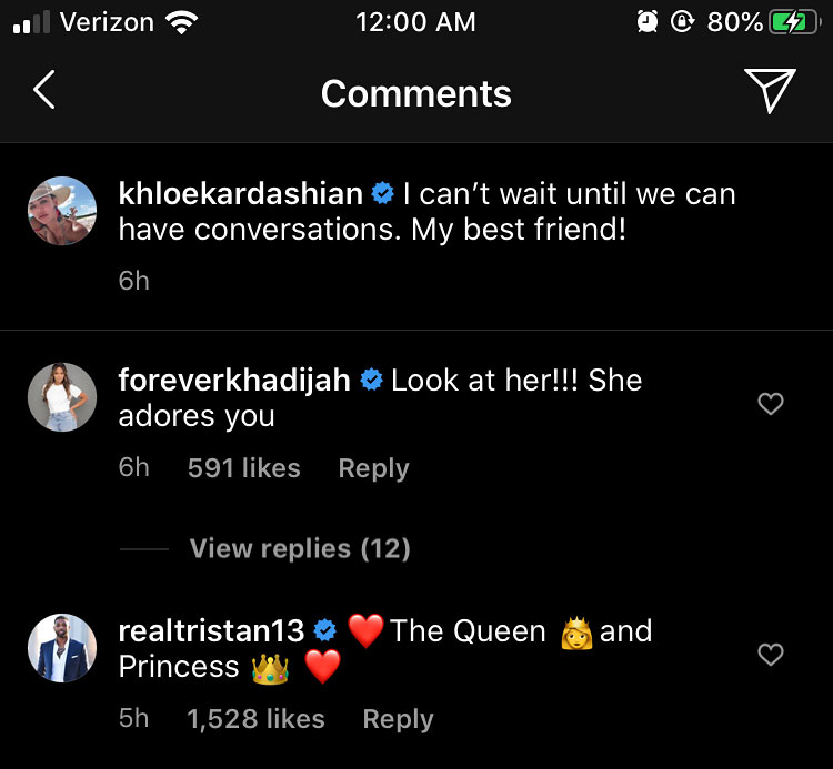 Creepin' in the Comments (Per Usual): Tristan Thompson Gushes Over Khloé Kardashian and True