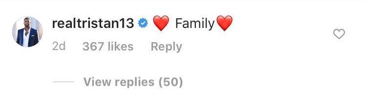 Tristan Thompson Comments on Khloe Kardashian's Instagram