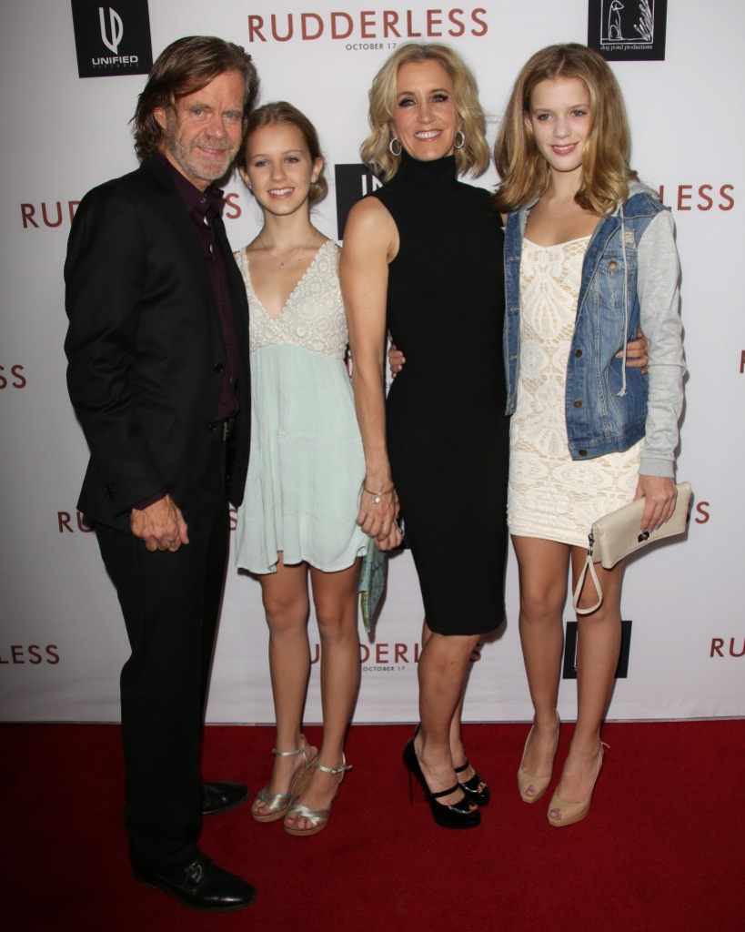 William H. Macy With Felicity Huffman and Their Girls