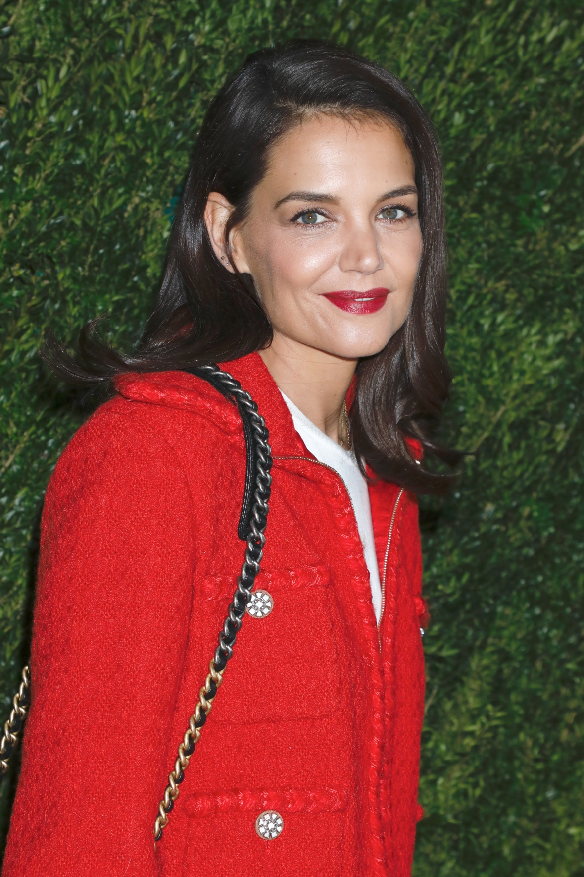 Katie Holmes Wears Stylish Red Jacket