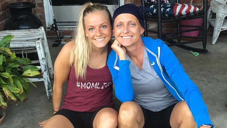 mackenzie mckee and her mom angie douthit sitting on a porch