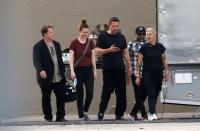 Ben Affleck Wearing a Black T-Shirt With Ama De Armas at Work