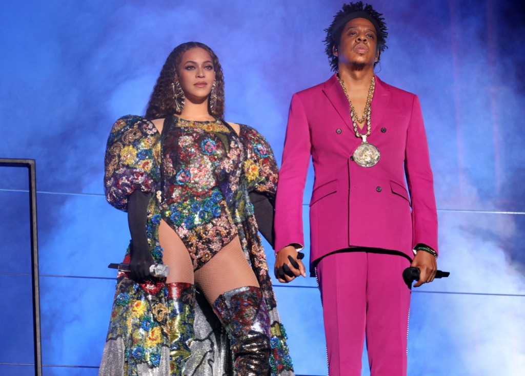 Beyonce Wearing a Patterned Dress With Jay-Z in Pink