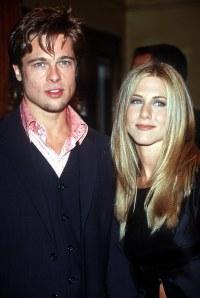 Jennifer Aniston With Long Hair and Brad Pitt