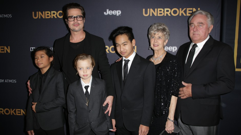 Brad Pitt With His Kids on a Red Carpet
