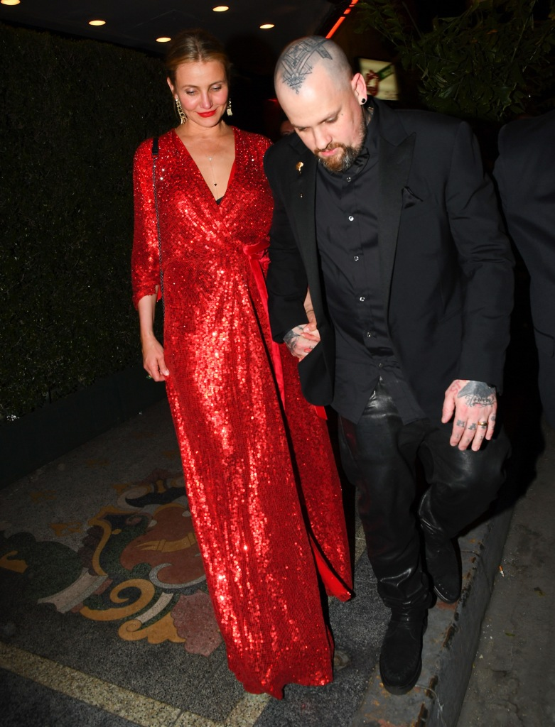 Cameron Diaz Wearing a Red Dress With Benji Madden