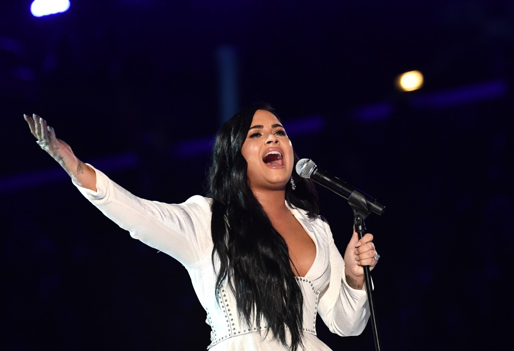 Demi Lovato Wearing a White Dress at the Grammys