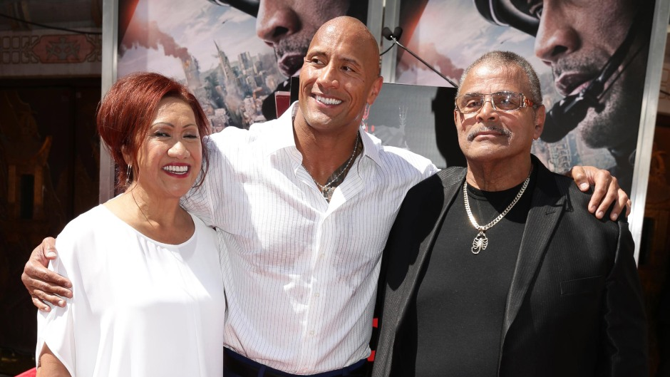 Dwayne Johnson With His Parents on a Red Carpet