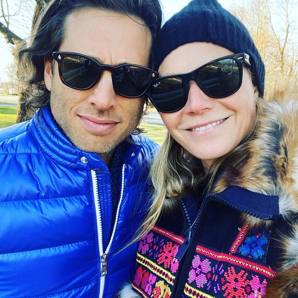 Gwyneth Paltrow With Her Husband Wearing Sunglasses