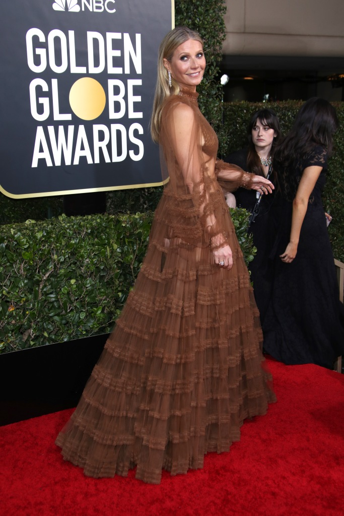 Gwyneth Paltrow Wearing a Sheer Gown at the Golden Globes