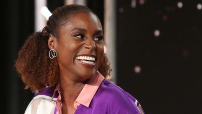 Issa Rae Wearing Purple a a Panel