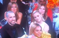 Jennifer Aniston Smiling During Brad's Speech