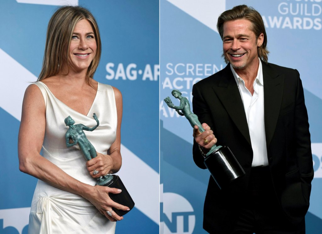 Jen Aniston Posts Flirty Photo of SAG Dress on the Floor After Steamy Run-In With Brad Pitt
