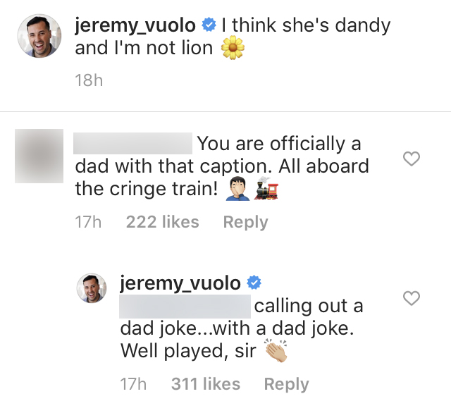 Jeremy Vuolo Has Perfect Response to Dad Joke Call Out