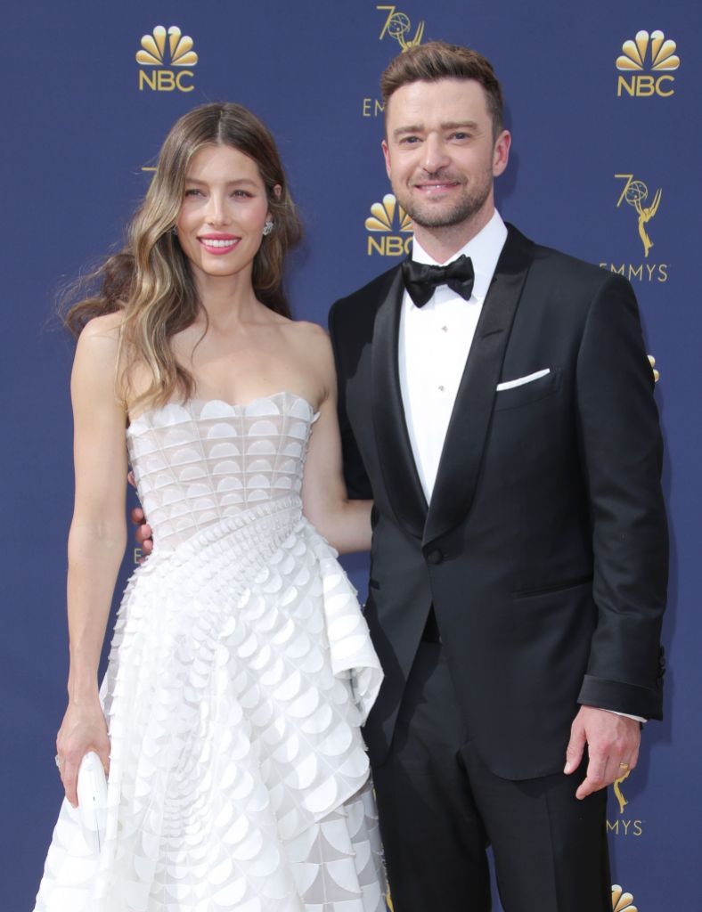 Justin Timberlake Wearing a Suit With Jessica Biel in a White Dress