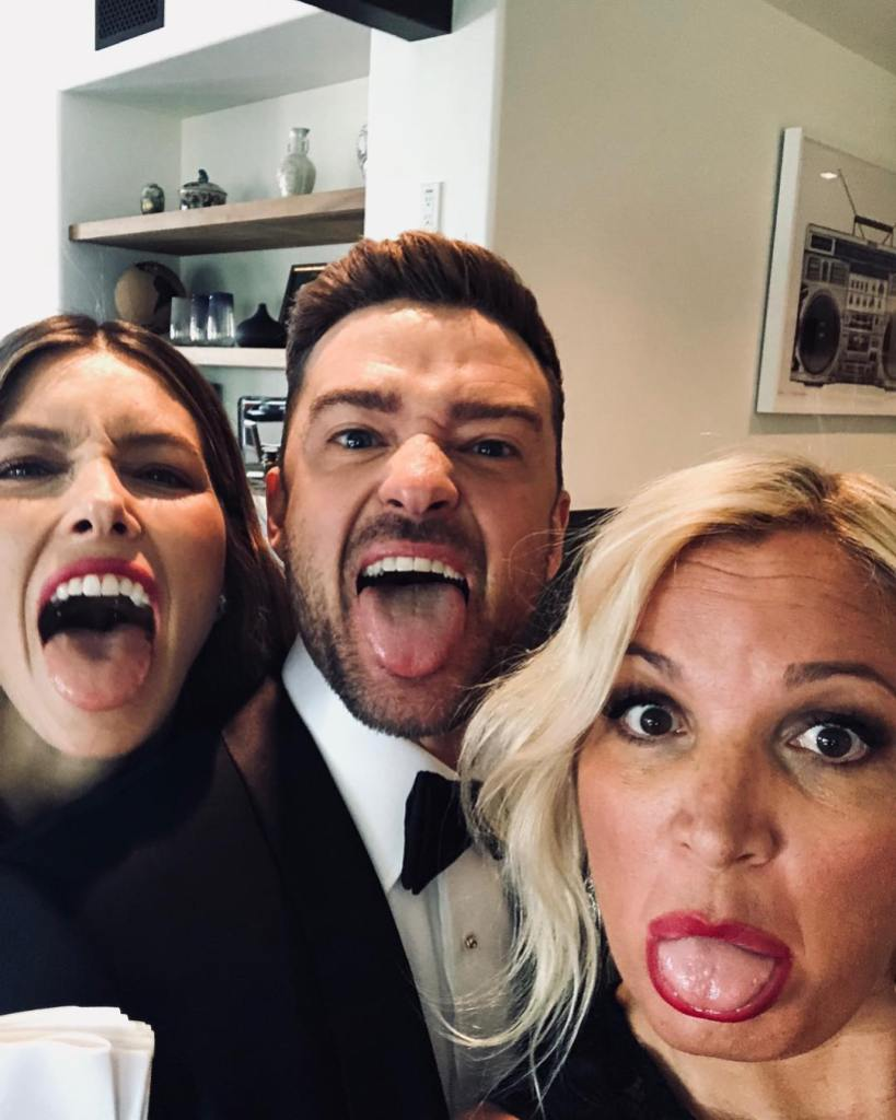 Jessica Biel and Justin Timberlake Sticking Their Tongues Out