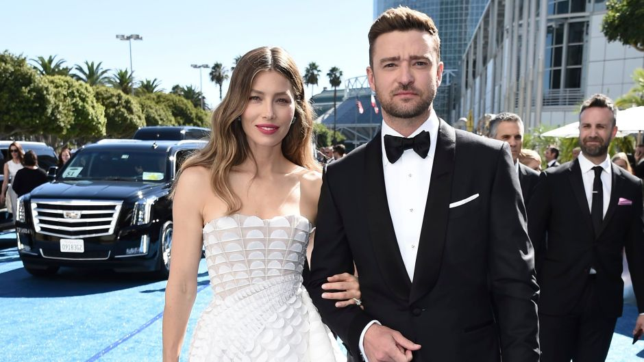 Jessica Biel Wearing a White Dress and Justin Timberlake in a Suit