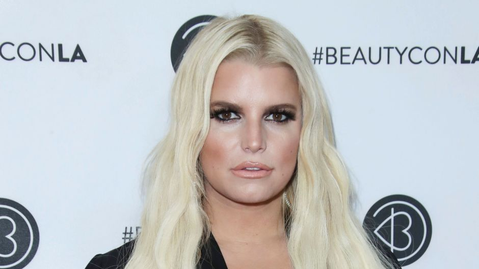 Jessica Simpson Wearing Her Hair Down in a Black Dress