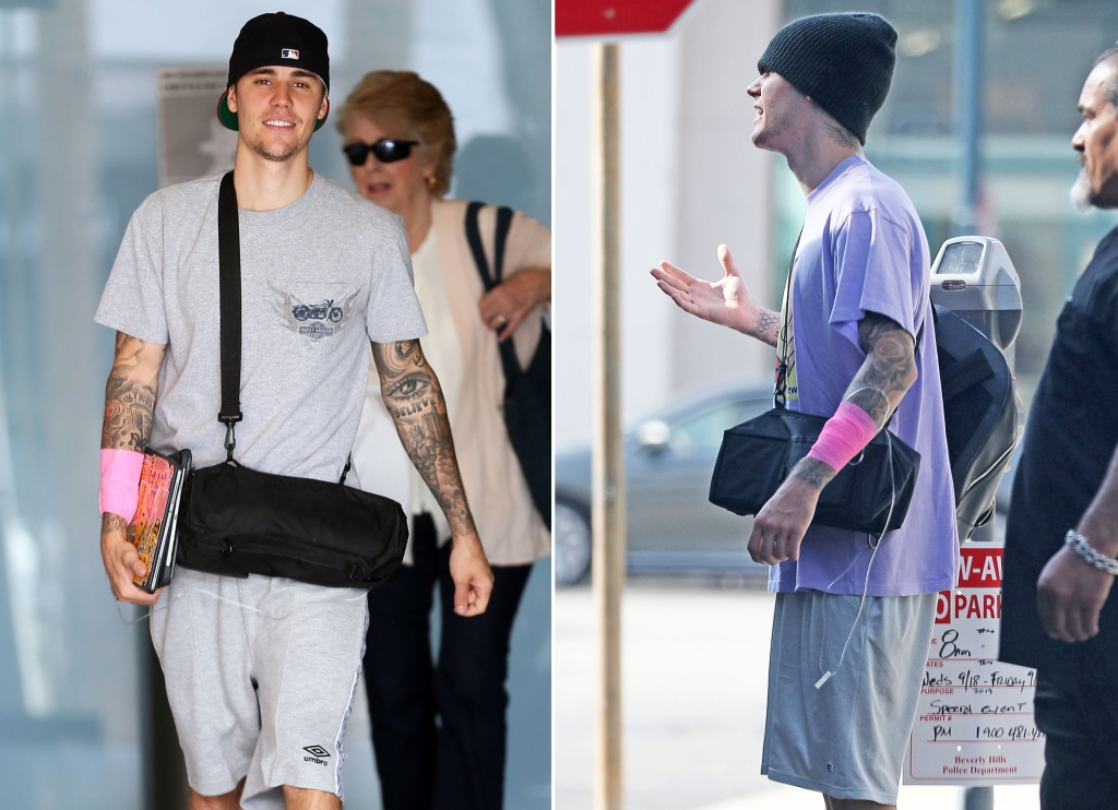 Justin Bieber Walking Around With Medical Tape on His Arm