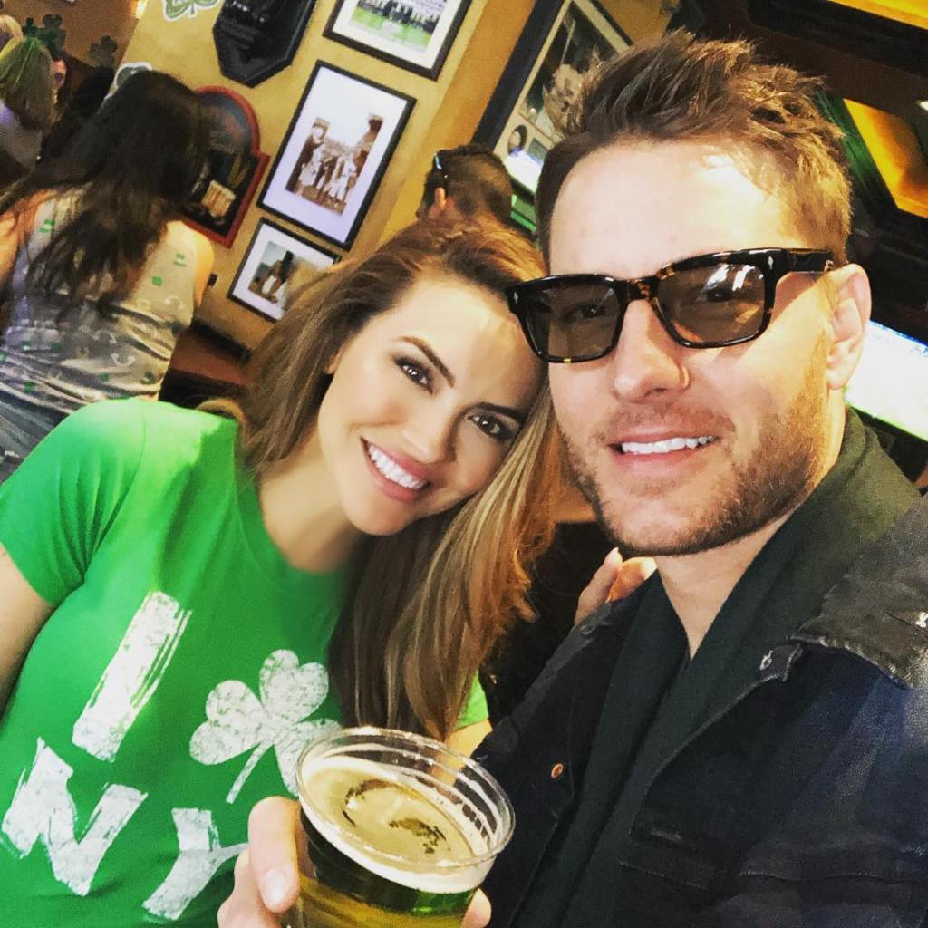 Justin Hartley Wearing Glasses With Chrishell Stause