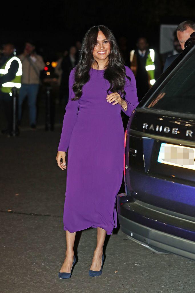 Meghan Markle Wearing a Purple Dress