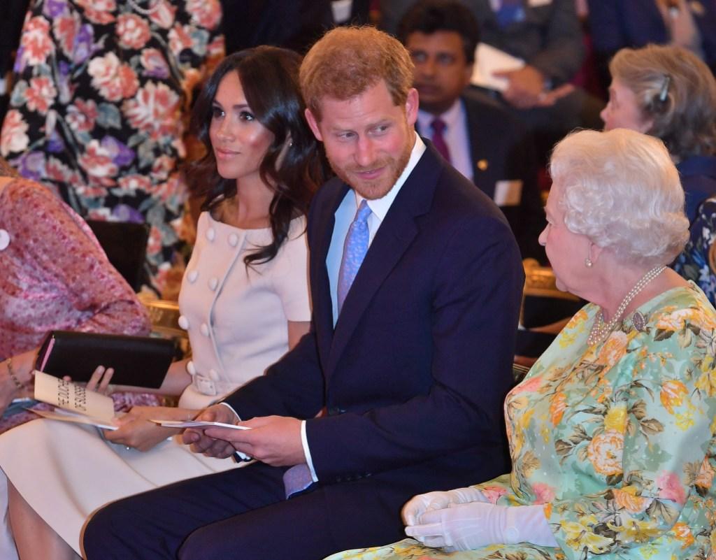 Meghan and Harry Talking to Queen Elizabeth II
