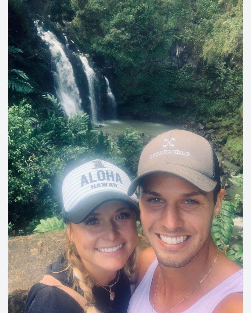 Brendan McLoughlin and Miranda Lambert by a Waterfall