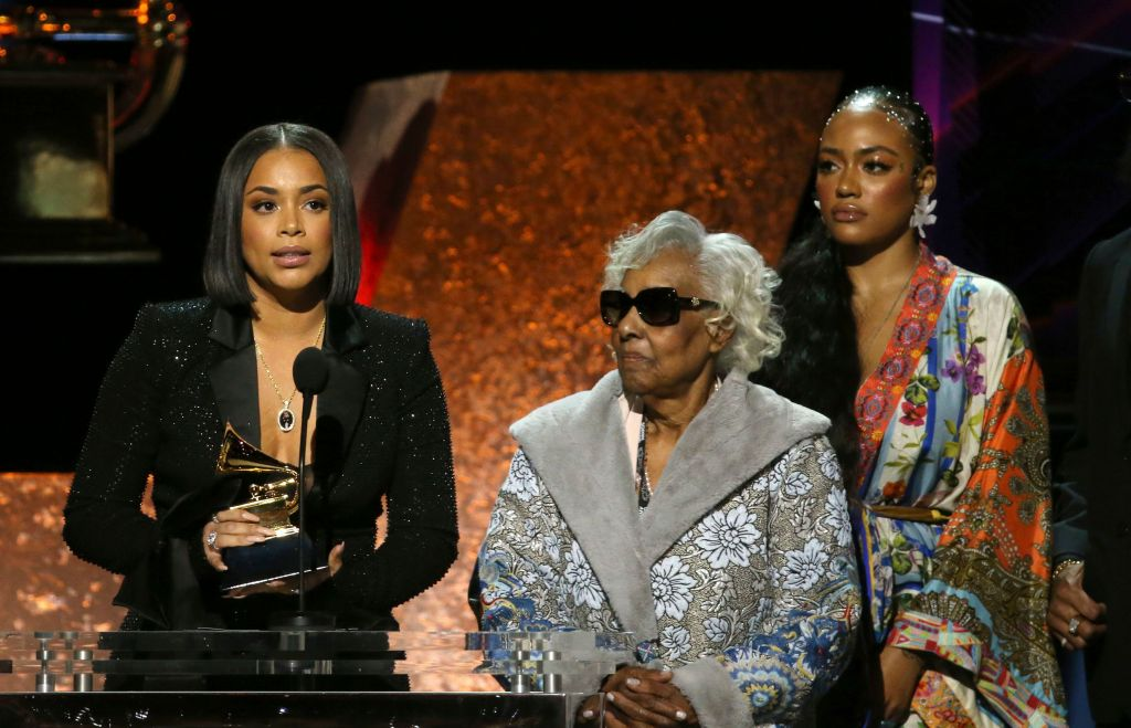 Lauren London and Nipsey Hussle's Family at the Grammys