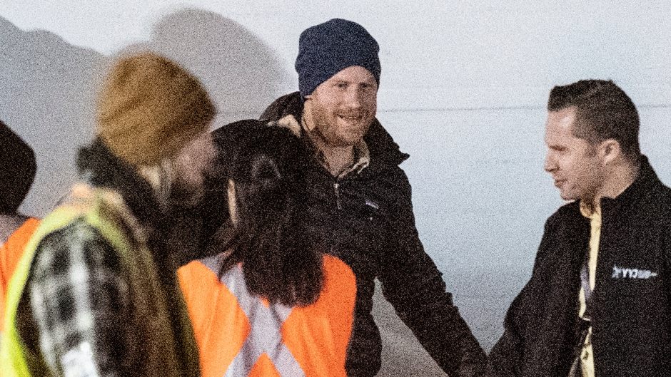 Prince Harry Gets off a Plane