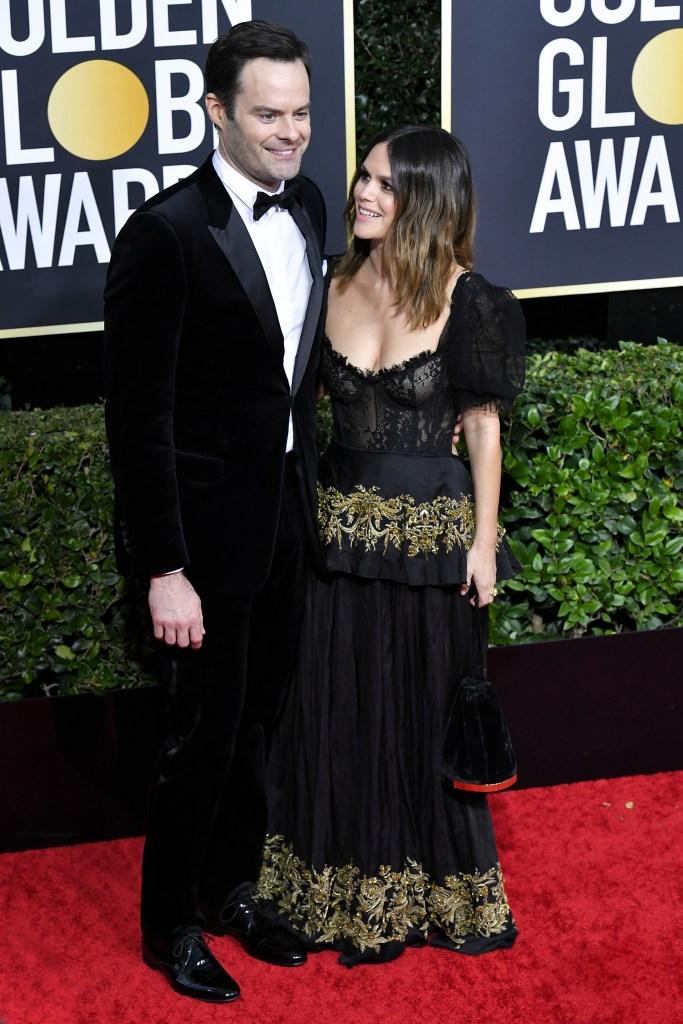 Rachel Bilson Smiles at Bill Hader on Golden Globes Red Carpet